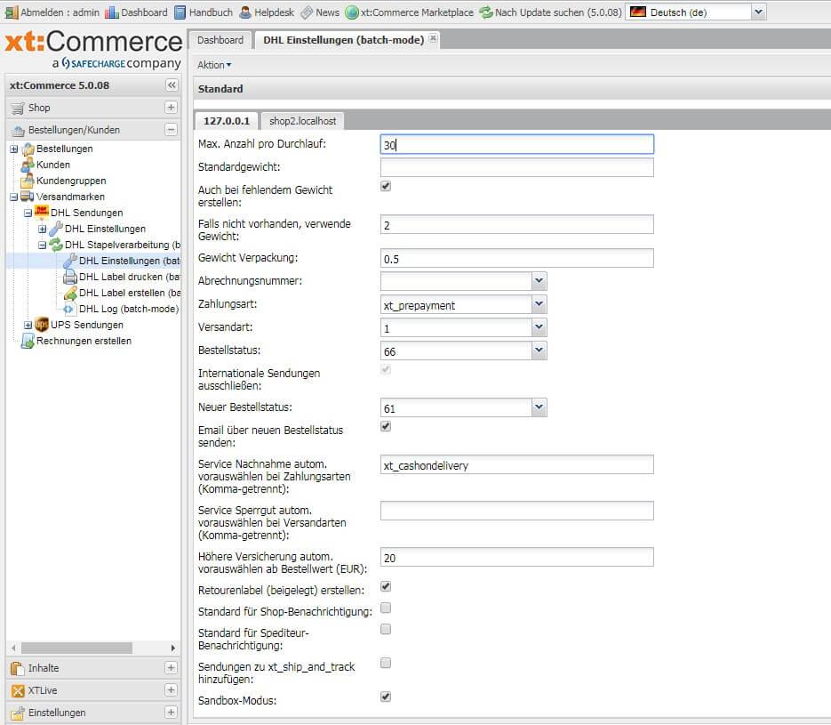 Versand Plugin Für Xt Commerce Dhl Ups Und Gls Paketmarken Erstellen